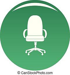 fauteuil, vecteur, vert, confortable, icône