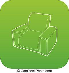 fauteuil, vecteur, vert, icône