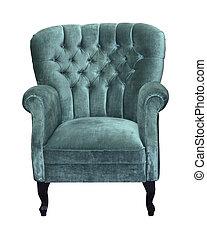 fauteuil, velours, retro