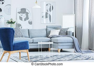 fauteuil, velours, salle, gris