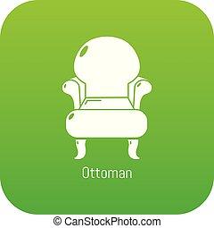 fauteuil, vendange, vecteur, vert, icône