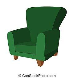 fauteuil, vert, dessin animé, icône