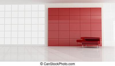fauteuil, vide, salle moderne, rouges