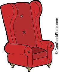 fauteuil, vieux, dessin animé