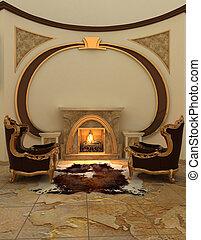 fauteuils, chaud, moderne, cheminée, interior.