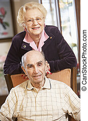 fauteuils, couples aînés, délassant