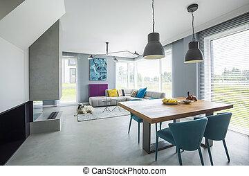 fauteuils, dans, spacieux, appartement, intérieur