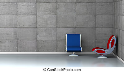 fauteuils, deux, futuriste