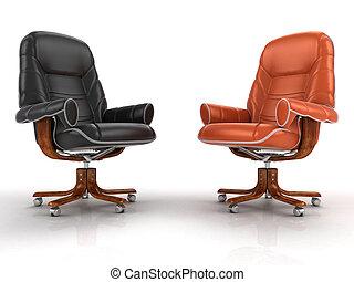 fauteuils, deux, isolé, cuir