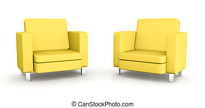 fauteuils, deux, jaune