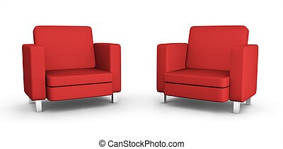 fauteuils, deux, rouges