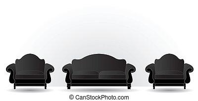 fauteuils, deux, sofa
