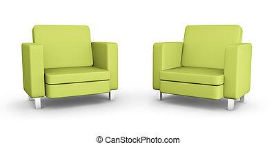 fauteuils, deux, vert