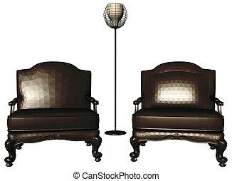 fauteuils, lampe, deux