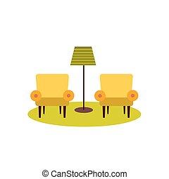 fauteuils, lampe, deux, plancher