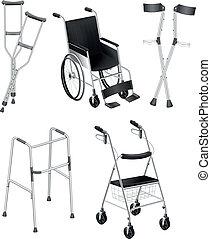 fauteuils roulants, béquilles