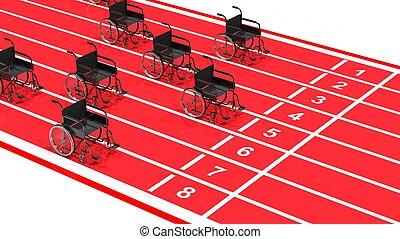 fauteuils roulants, sur, rouges, piste de roulement, isolé, blanc