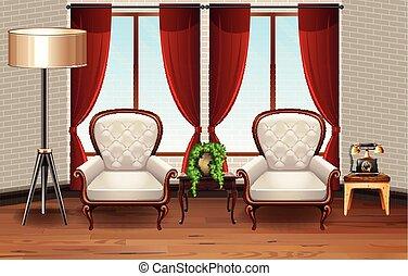 fauteuils, salle, deux, scène