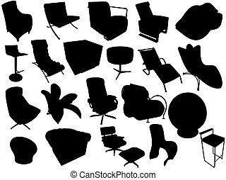 fauteuils, silhouette