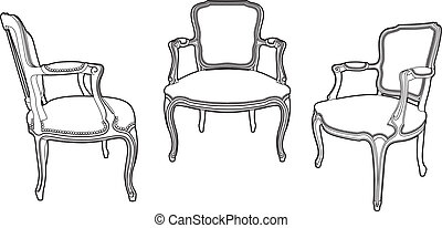 fauteuils, style, trois, dessin