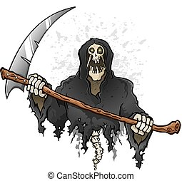 faux, caractère, reaper, mort, sinistre, tenue, dessin animé