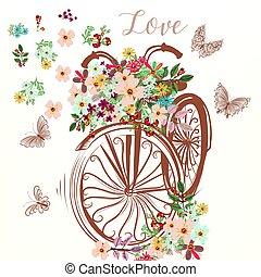 faux, fleurs, mignon, vélo, tas, main, dessiné, printemps