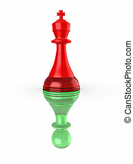 faux, image, leadership., conceptuel, chess., 3d
