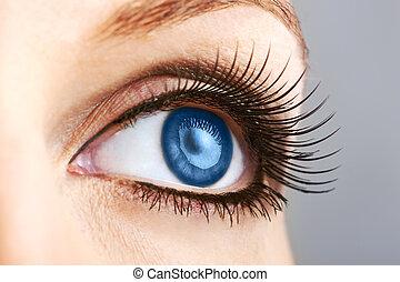faux, oeil, femme, bleu, mèches