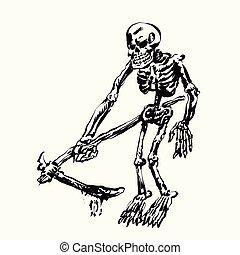 faux, squelette, tenue