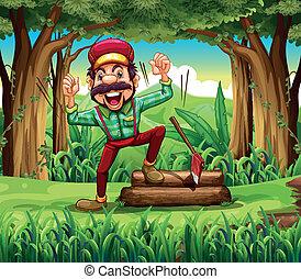 favágó, erdő, boldog