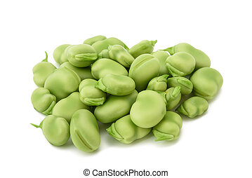 fava bean (Vicia faba) - broad beans heap isolated on white...