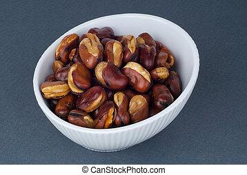 Fava beans. (kacang parang kulit) on background - Fava...