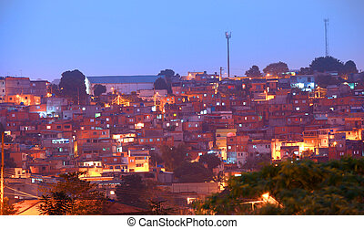Favela in night time