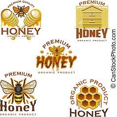 favo, ape, miele, alveare, mestolo, icona