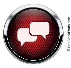 favo mel, vermelho, conversa, ícone