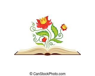 favoloso, forma, mezzo, giallo, fondo., vettore, illustrazione, fiori bianchi, rosso, crown.