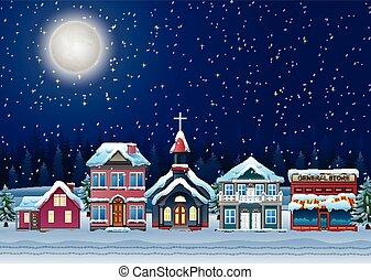 favoloso, neve coprì, città, in, il, natale, notte