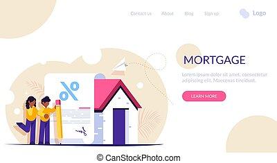 favorável, sinais, família, template., bank., home., empréstimo, compra, página, jovem, forma, teia, interesse, aterragem, documento, concept., novo, hipoteca