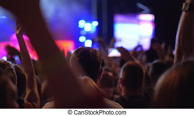 favori, bande, audience, donner, concert, musique, applaudissements