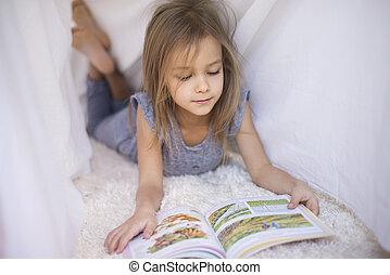 favori, livre, lire, sous, les, feuille
