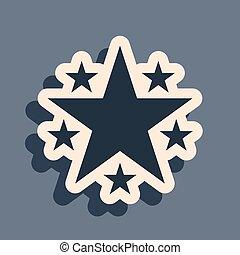 favori, récompense, isolé, symbole., long, vecteur, gris, ombre, mieux, noir, étoile, classement, icône, arrière-plan., style., illustration