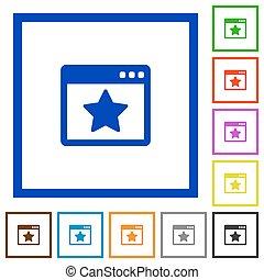 Favorite application framed flat icons
