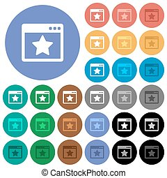 Favorite application round flat multi colored icons