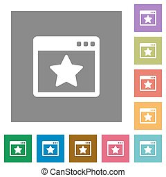 Favorite application square flat icons