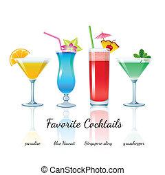 Favorite cocktails set, isolated - Favorite Cocktails Set...