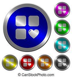 Favorite component luminous coin-like round color buttons