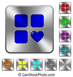 Favorite component rounded square steel buttons