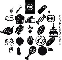 Favorite delicacy icons set, simple style