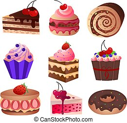 Favorite delicacy of any girl and child on the day of birth. Realistic vector illustrations.