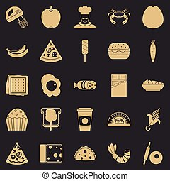 Favorite dish icons set, simple style